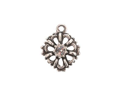 Nunn Design Antique Silver (plated) Flower Crystal Charm 15x18mm
