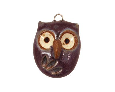 Kylie Parry Ceramic Purple Hoot Owl 19x26mm