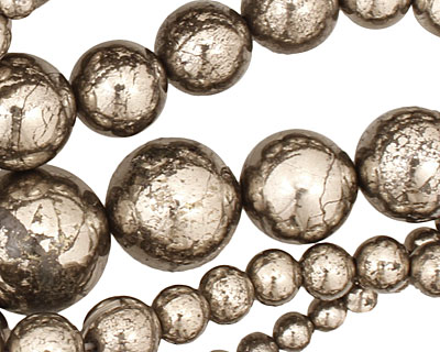 Golden Pyrite (silver tone) Round Graduated 4-18mm