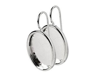 Nunn Design Sterling Silver (plated) Large Oval Frame Earring 16x20mm