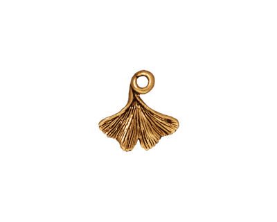 TierraCast Antique Gold (plated) Ginkgo Leaf Charm 12x13mm