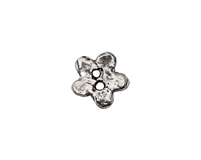 Rustic Charms Sterling Silver Flower 2-Hole Button 14mm