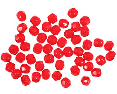 Czech Fire Polished Glass Siam Ruby Round 3mm