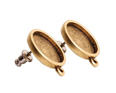 Nunn Design Antique Gold (plated) Mini Circle Earring 18x15mm