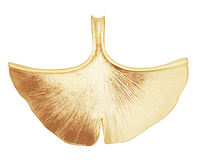 Ezel Findings Gold (plated) Ginkgo Leaf Pendant 40x30mm