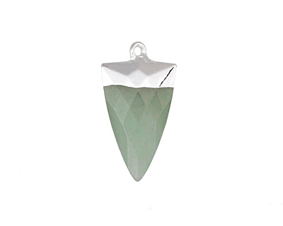 Green Aventurine Faceted Triangle Pendant w/ Silver Finish 13x24mm