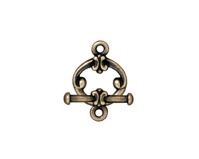 TierraCast Antique Brass (plated) Classic Toggle Clasp 15x12mm, 16mm bar