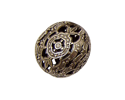 Stampt Antique Pewter (plated) Filigree Ball 20mm