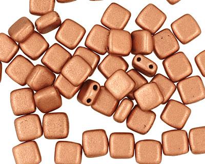 CzechMates Glass Matte Metallic Copper 2-Hole Tile 6mm