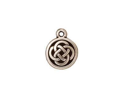 TierraCast Antique Silver (plated) Celtic Round Charm 12x15mm