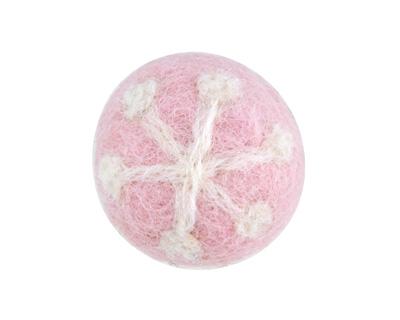 Pink Snowflake Felt Round 26mm