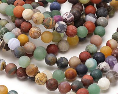 Matte Multi Gemstone (Sodalite, Tiger Eye, Red Jasper, Aventurine) Round 8mm