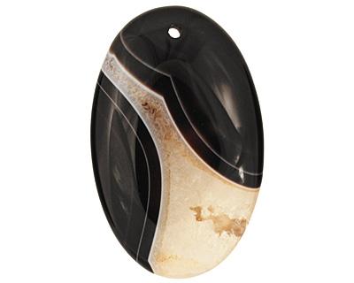 Black & White Agate Flat Oval Pendant 35x55mm