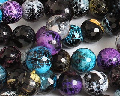 Graffiti Agate Faceted Round 12mm