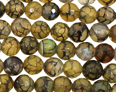 Olive Fire Agate Faceted Round 8mm