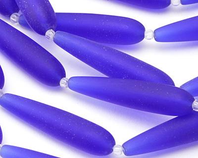 Royal Blue Recycled Glass Teardrop 38x9mm