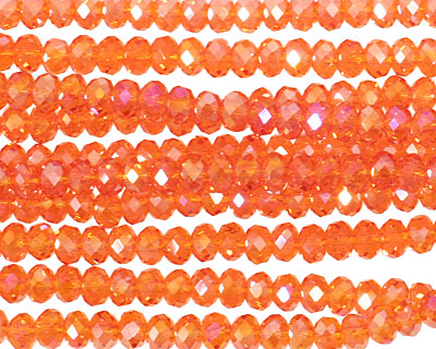 Nectarine AB Crystal Faceted Rondelle 4mm