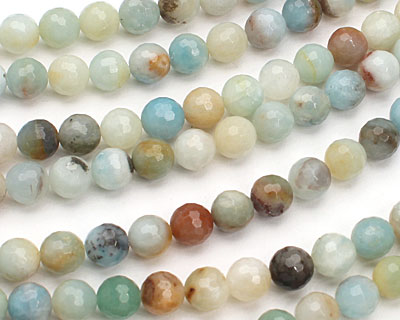 Black Gold Amazonite Faceted Round 8mm