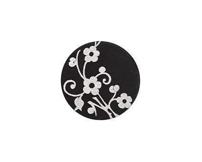 Lillypilly Black Floral Vine Anodized Aluminum Disc 19mm, 22 gauge