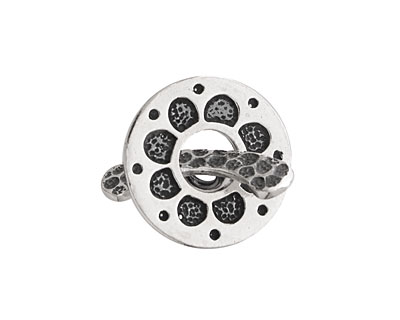Saki Sterling Silver Daisy Toggle Clasp 20mm, 23mm bar