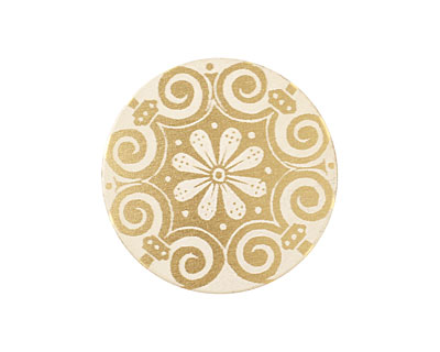 Lillypilly Gold Scrolling Daisy Anodized Aluminum Disc 25mm, 22 gauge