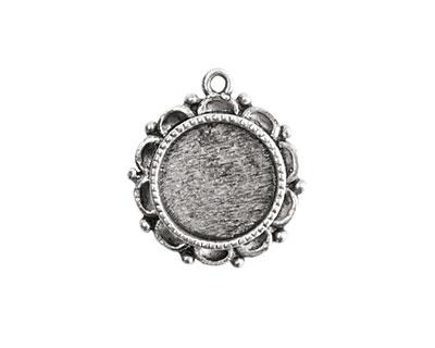Nunn Design Antique Silver (plated) Mini Ornate Circle Bezel Pendant 19x22mm
