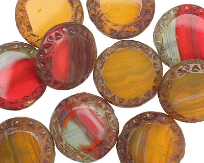Czech Glass Pickled Pepper Picasso Tribal Coin 16mm