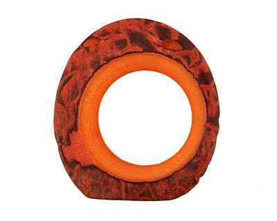 Tagua Nut Orange Open Slice (side drilled) 33-45x24-36mm