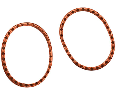 Stampt Antique Copper (plated) Oval Textured Ring 20x25mm