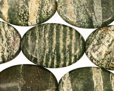 Green Zebra Jasper Flat Oval 25x18mm