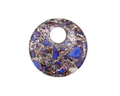 Purple Mosaic Stone w/ Pyrite Coin Pendant 30mm