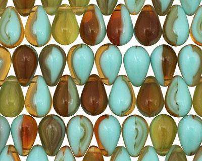 Czech Glass Sunny Waters Teardrop 6x9mm