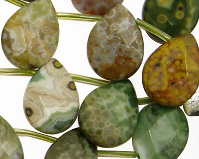 Ocean Jasper Faceted Flat Teardrop 13x18mm