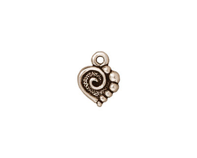 TierraCast Antique Silver (plated) Spiral Heart Charm 10x12mm