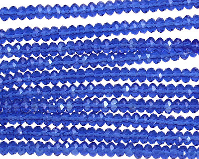 Cobalt Crystal Faceted Rondelle 3mm