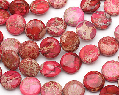 Ruby Impression Jasper Puff Coin 14mm