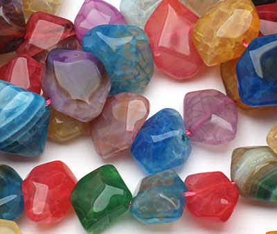 Rainbow Line Agate Faceted Nugget 9-18x15-20mm