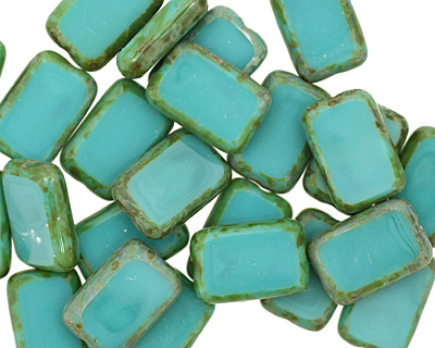 Czech Glass Turquoise Picasso Rectangle 12x8mm