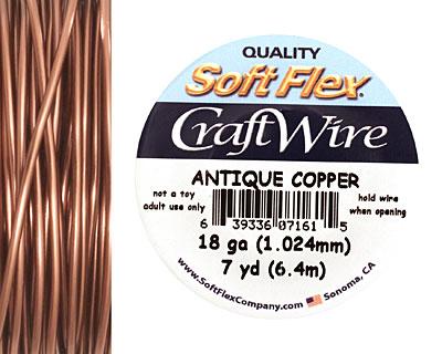 Soft Flex Non-Tarnish Antique Copper Craft Wire 18 gauge, 7 yards