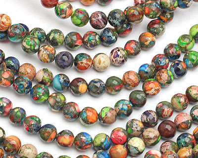Mardi Gras (Mixed Impression) Jasper Round 8mm