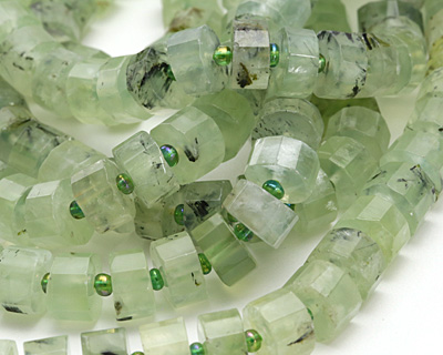Green Tourmalinated Quartz Faceted Disc 4-7x9-11mm