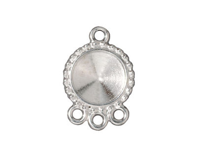 TierraCast Rhodium (plated) Beaded Round Frame 1-3 Link 24x17mm