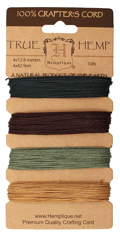 Shades of Camouflage Hemp Twine 10 lb, 42 ft x 4 colors