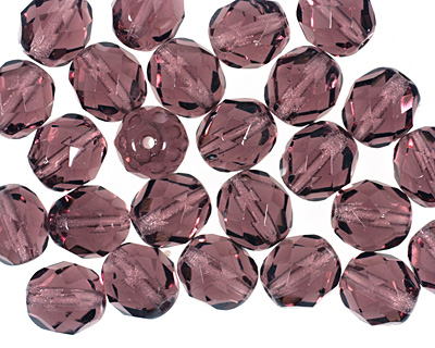 Czech Fire Polished Glass Amethyst Round 8mm