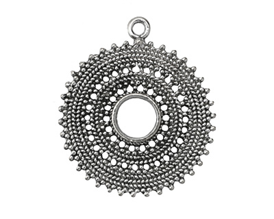 Zola Elements Antique Silver (plated) Bali Style Sun Medallion 38x43mm