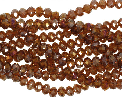 Dark Topaz AB Crystal Faceted Rondelle 4mm