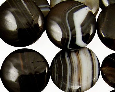 Black Sardonyx Puff Coin 20mm