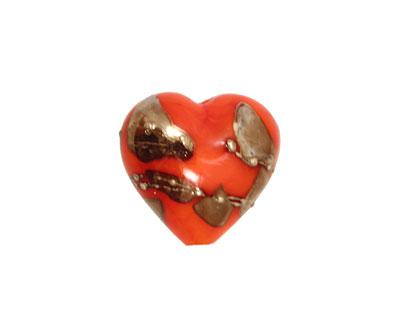 Grace Lampwork Electric Orange Metallic Heart 19-20mm