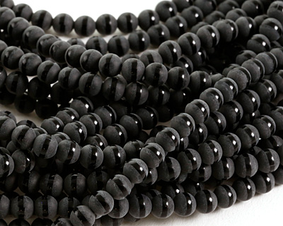 Black Onyx (matte w/ polished stripe) Round 6mm