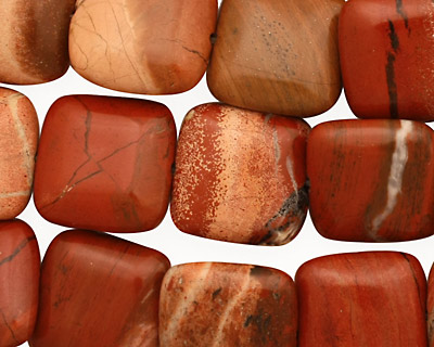 Red Bend Jasper Puff Square 15mm